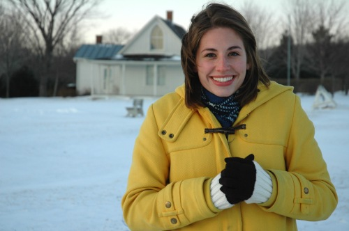 "New York actress Tory Flack in front of the house Grant Wood used for his painting ""American Gothic."" Eldon, Iowa (2009)"