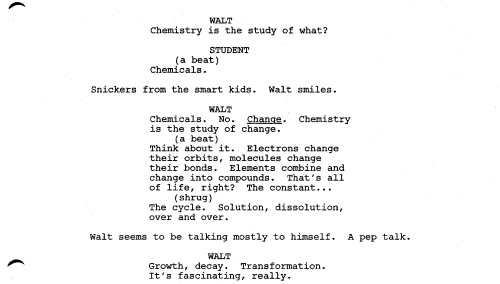 """""""Breaking Bad"""" pilot  script Written by Vince Gilligan"""