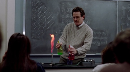 Chemistry teacher Walter White playing with fire