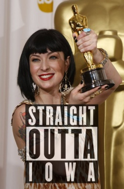 Diablo Cody poses backstage after winning an Oscar for best original screenplay for Juno at the 80th annual Academy Awards in Hollywood